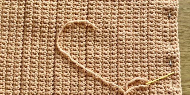 Pin fabric for crochet pumpkin