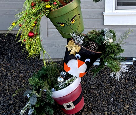 Christmas topsy turvy pots for outside