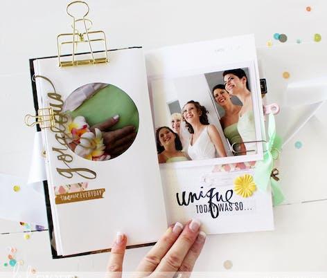 Inside wedding scrapbook idea