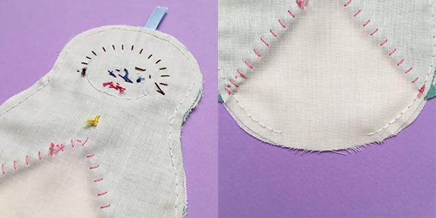 sewing fabric with backstitch