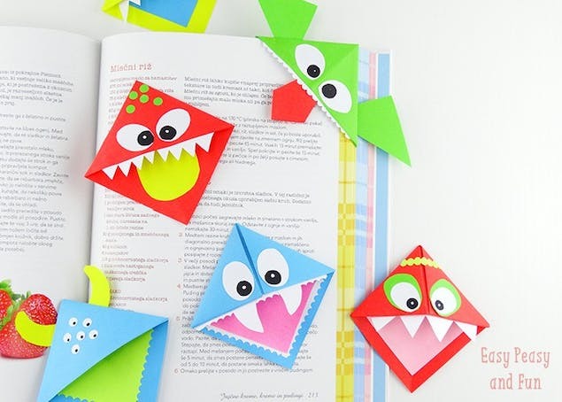 Colourful paper monster bookmarks