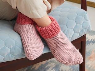 Cosy Slipper Socks - Knitting Pattern For Women in Debbie Bliss Cashmerino Chunky by Debbie Bliss