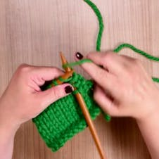 how to stocking stitch: cast on your stitches and knit a row