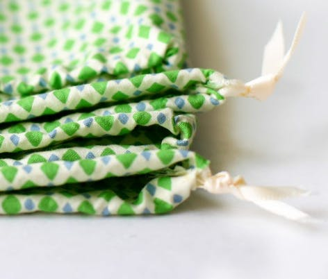 gift bag sewing project with pull tie fastening