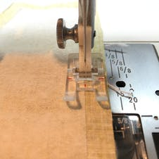 Sewing machine foot on the fabric