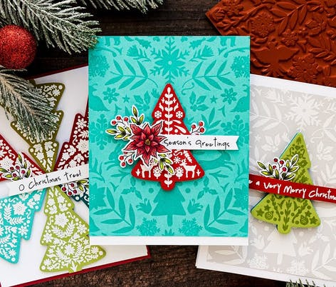 3 different christmas tree card designs with patterned backgrounds and christmas messages