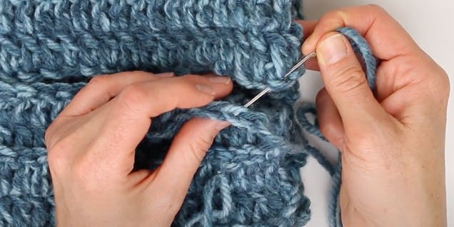 sewing together crochet hat seam