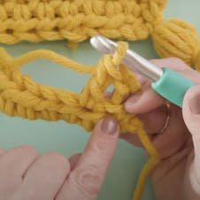 working a double crochet into second stitch