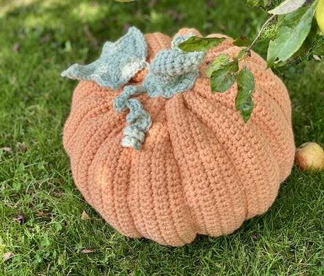 Huggable crochet pumpkin