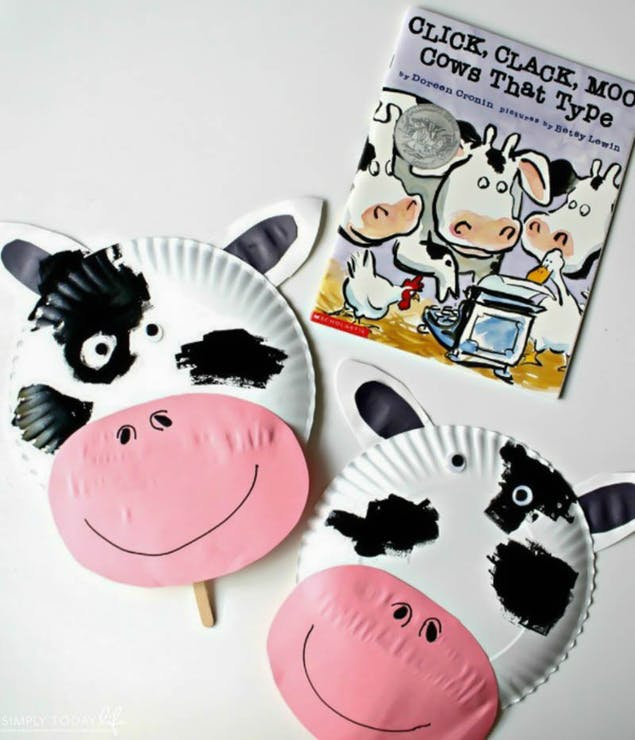 Cow masks made from paper plates by Simple Today Life