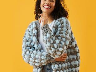 Bubble Stitch Cardigan - Free Knitting Pattern For Women - Cardigan Knitting Pattern in Paintbox Yarns Simply Super Chunky