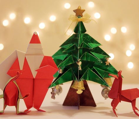 Papercraft Christmas Tree and Santa by Paperbound