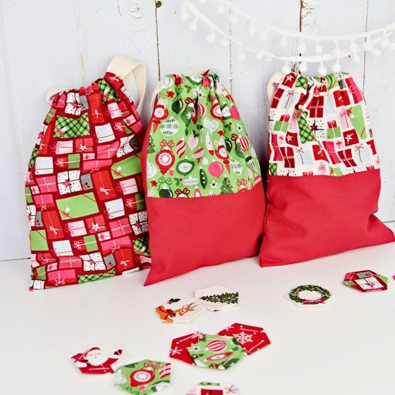 sewn christmas drawstring bags