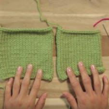 mattress stitch - lay down the knitting
