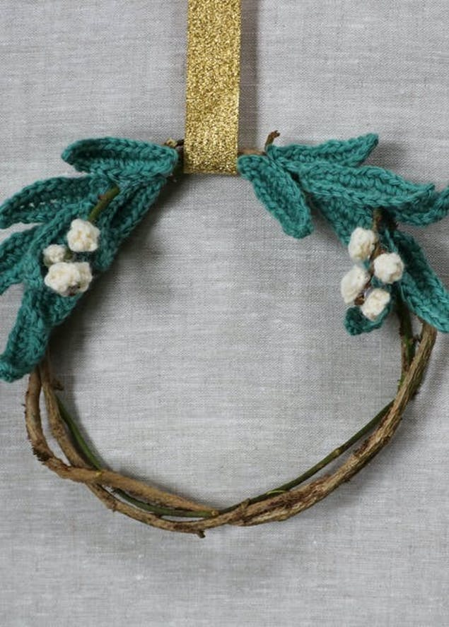 Crochet mistletoe wreath