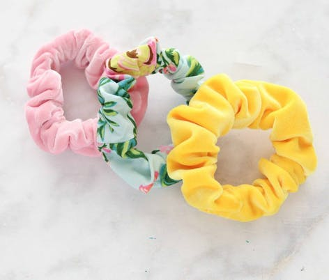 floral scrunchies made from fat quarters