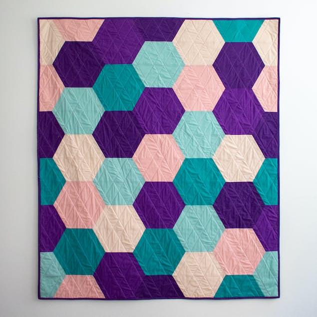hexagon quilt flatlay