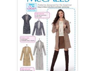 McCall's Misses' Drop-Shoulder Vest and Cardigans M7476 - Sewing Pattern