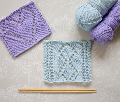 ssk project knitted square pattern