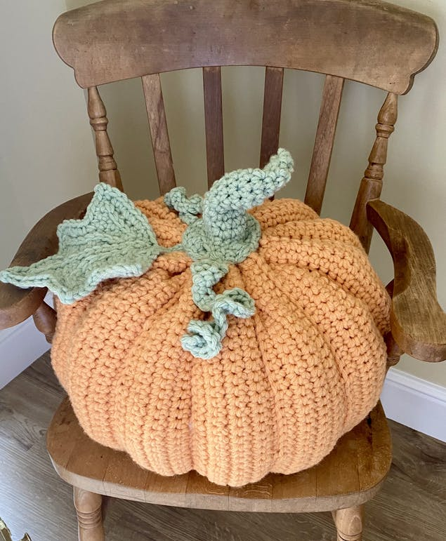 Finished crochet Thanksgiving pumpkin