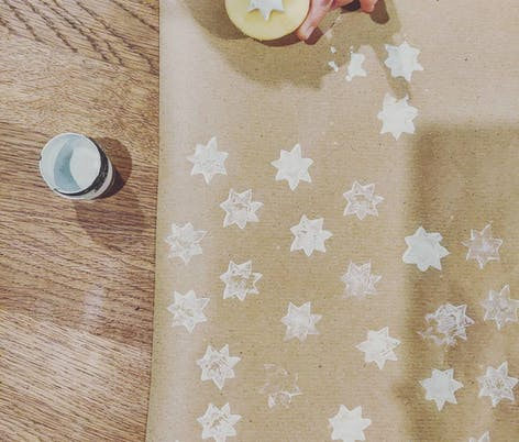 Wrapping paper potato stamps