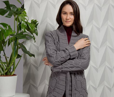 Katrine Coat MillaMia Abstract Cables knitting pattern