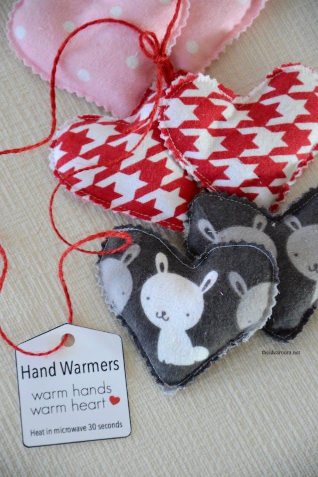 DIY heart hand warmer project