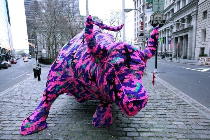 Wall Street bull yarn bombed