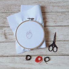 outline of pattern in embroidery hoop