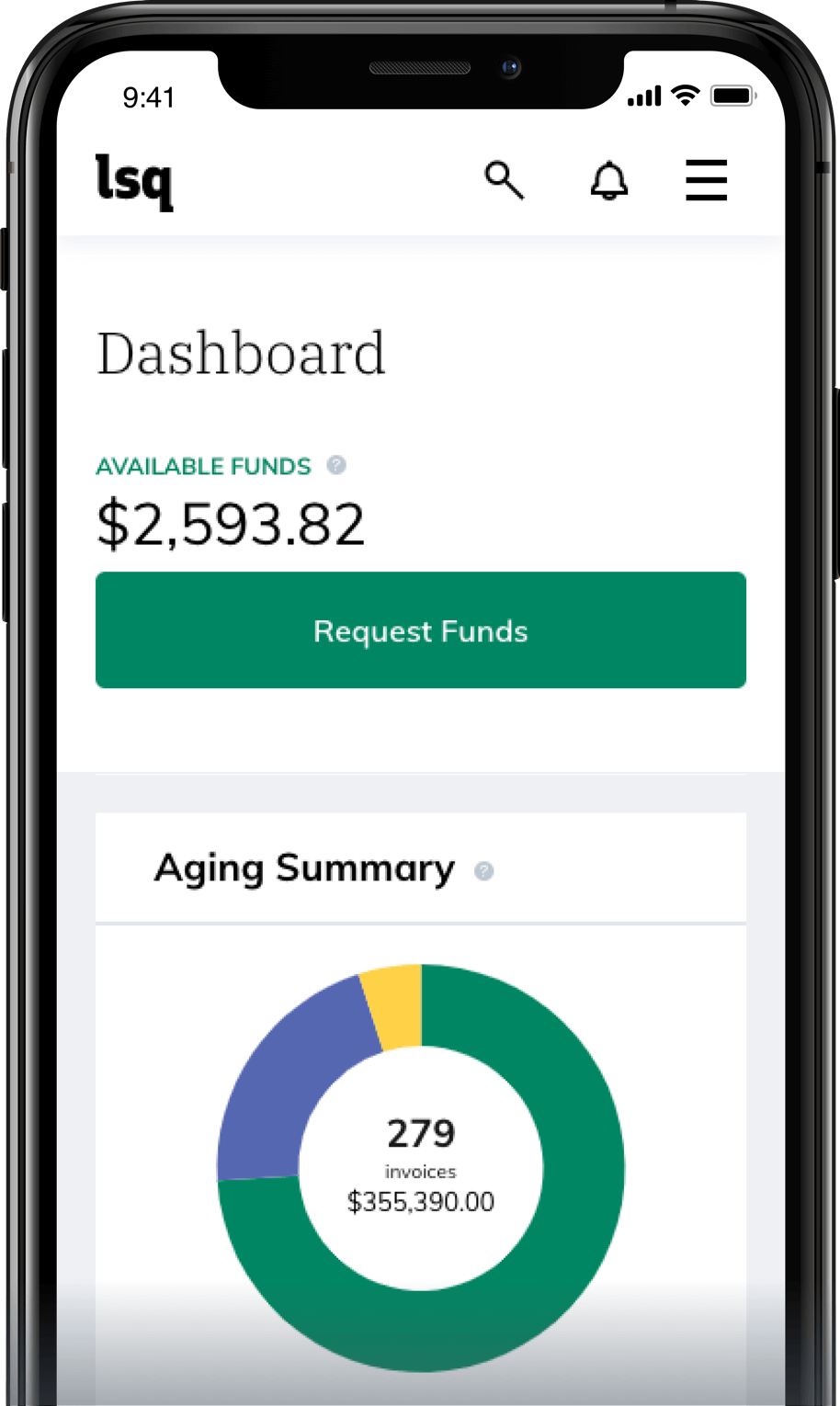 Mobile LSQ Dashboard screenshot