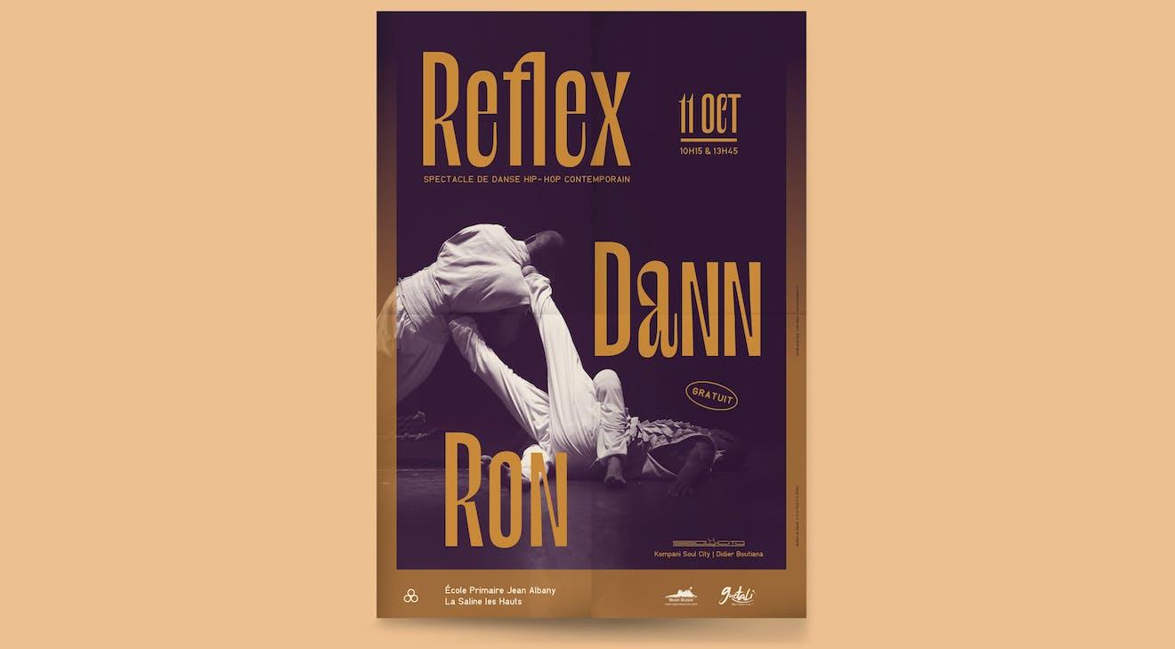 Design Graphique pour l'affiche Reflex dann ron pour la tournée de la Compagnie de Danse Soul City avec comme chorégraphe Didier Boutiana