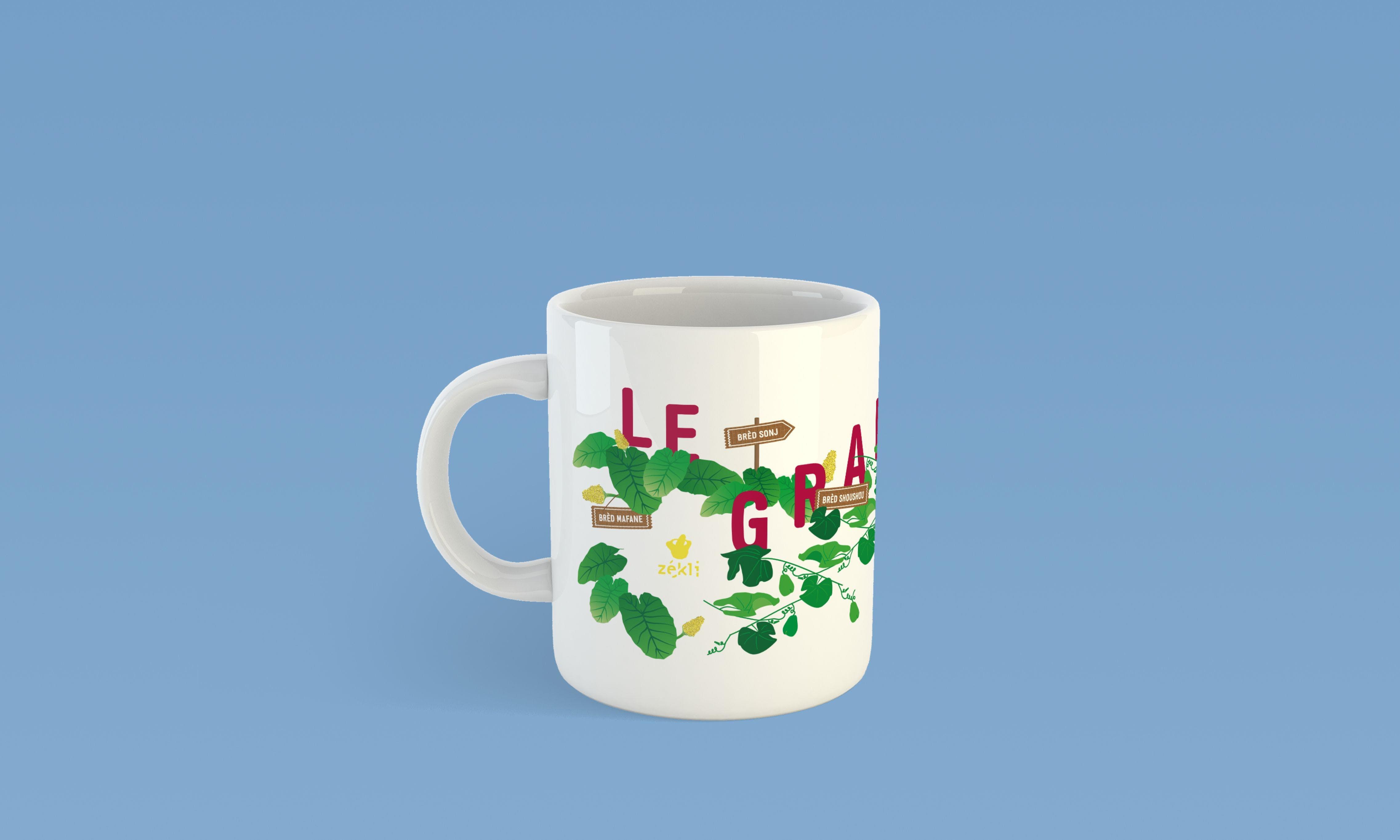 illustration printed on mug for Le Grand Bred for Zekli brand of Reunion Island