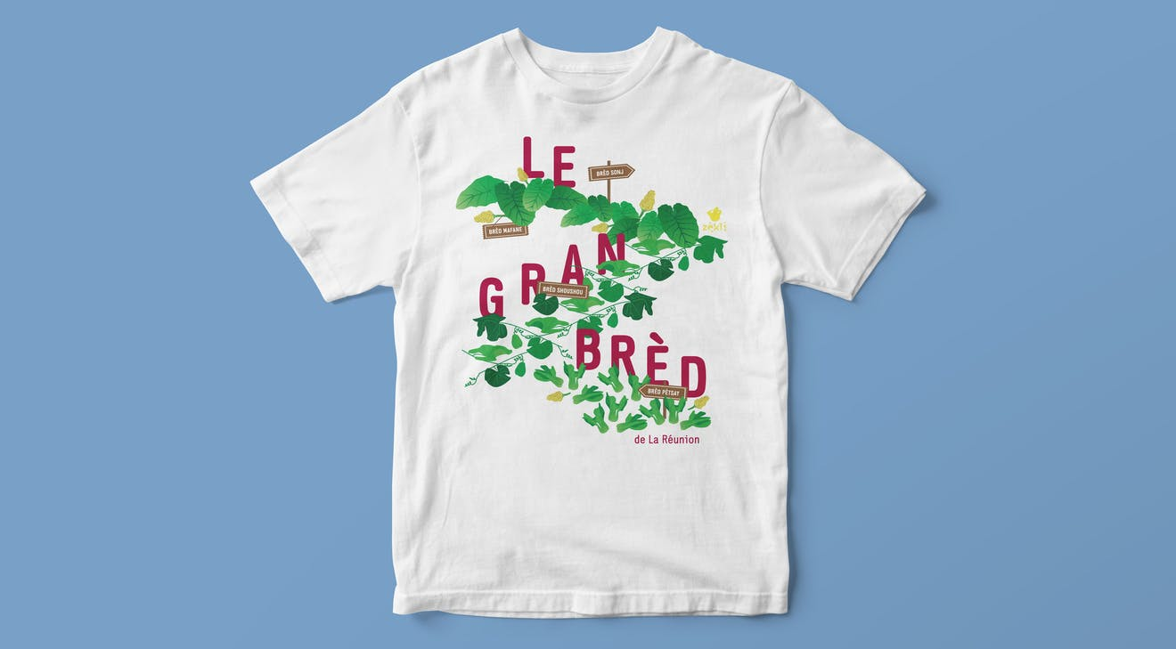 illustration printed on t-shirt of Le Grand Bred for Zekli brand of Reunion Island