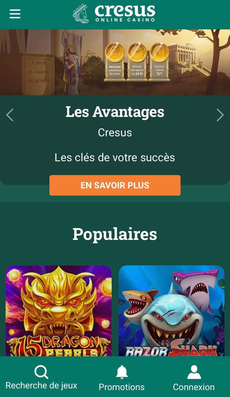 cresus casino on mobile