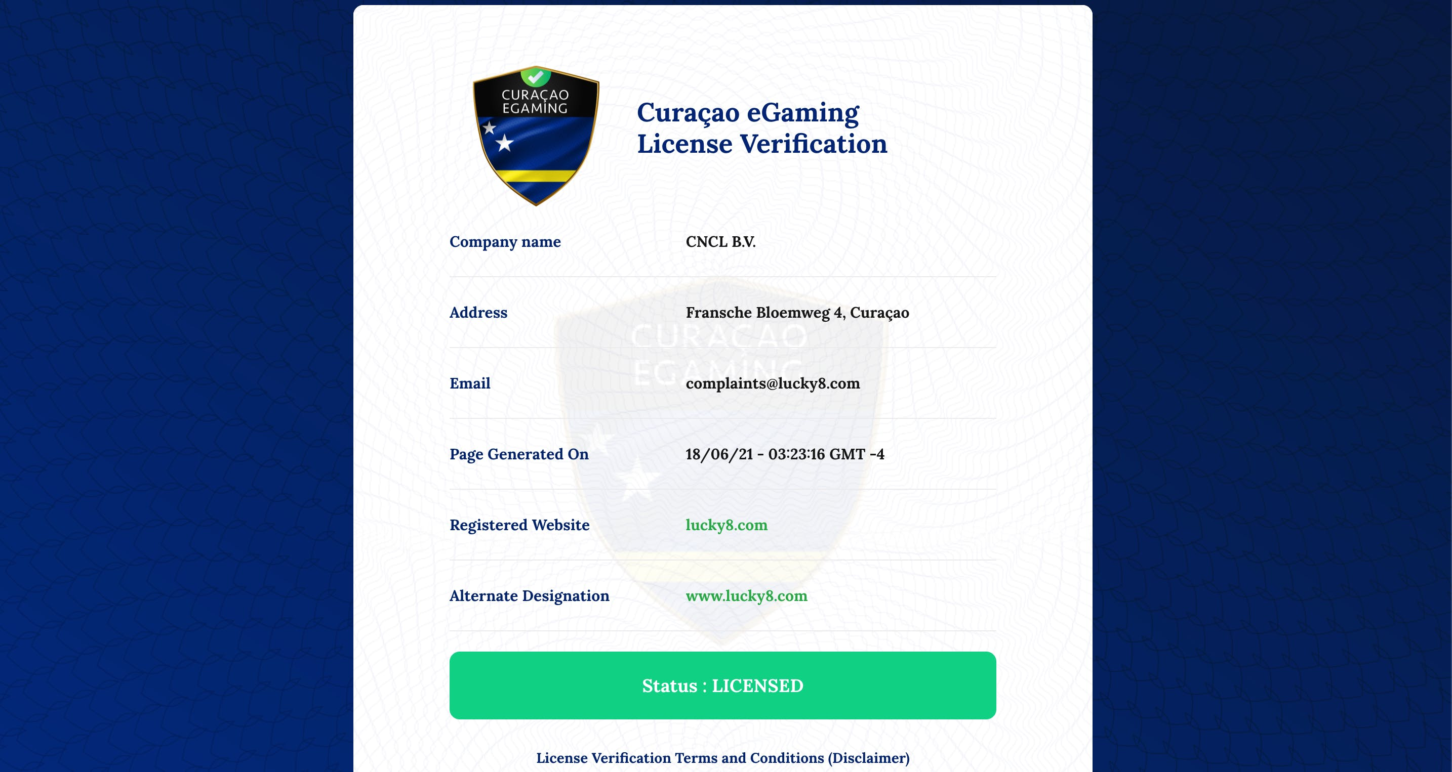 licence lucky8