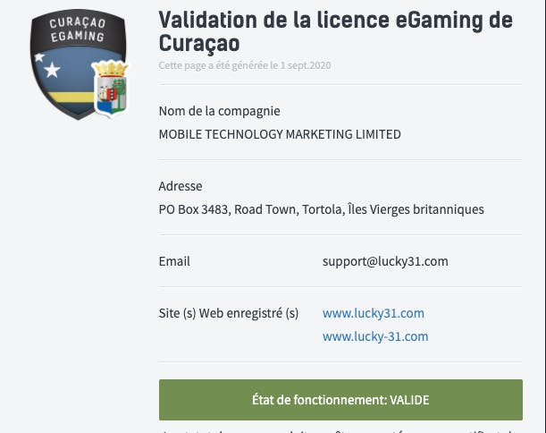 Licence Lucky31