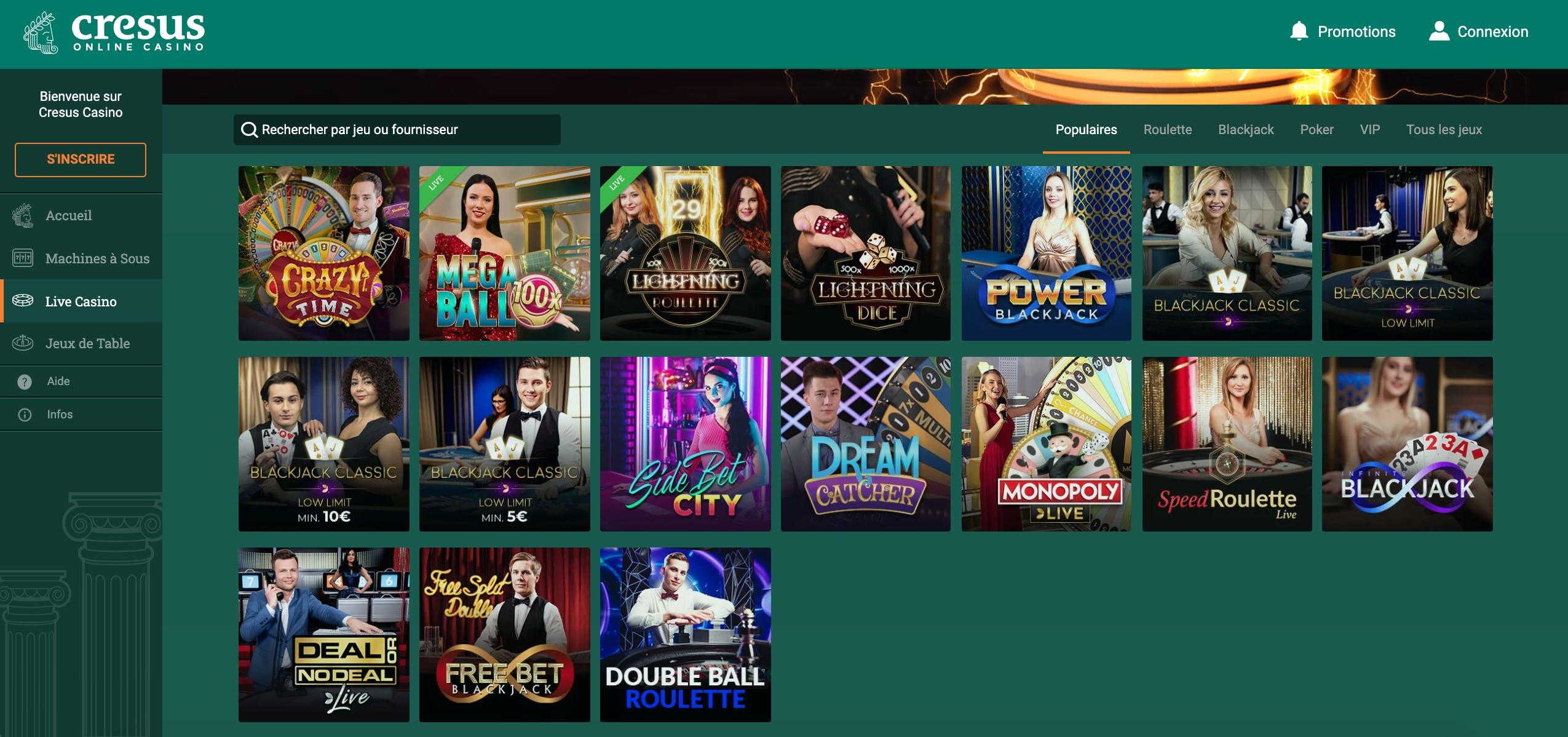 live casino cresus casino