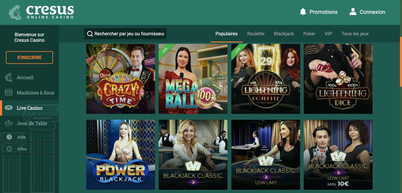 live cresus casino