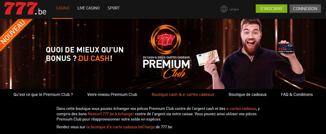 programme fidélité casino 777