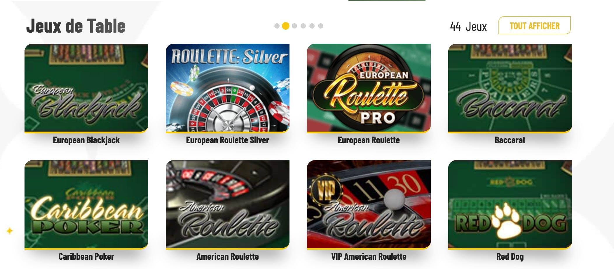 jeux de table Ma chance casino