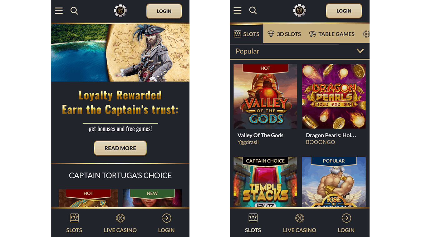 Version mobile Apple et Android du casino tortuga