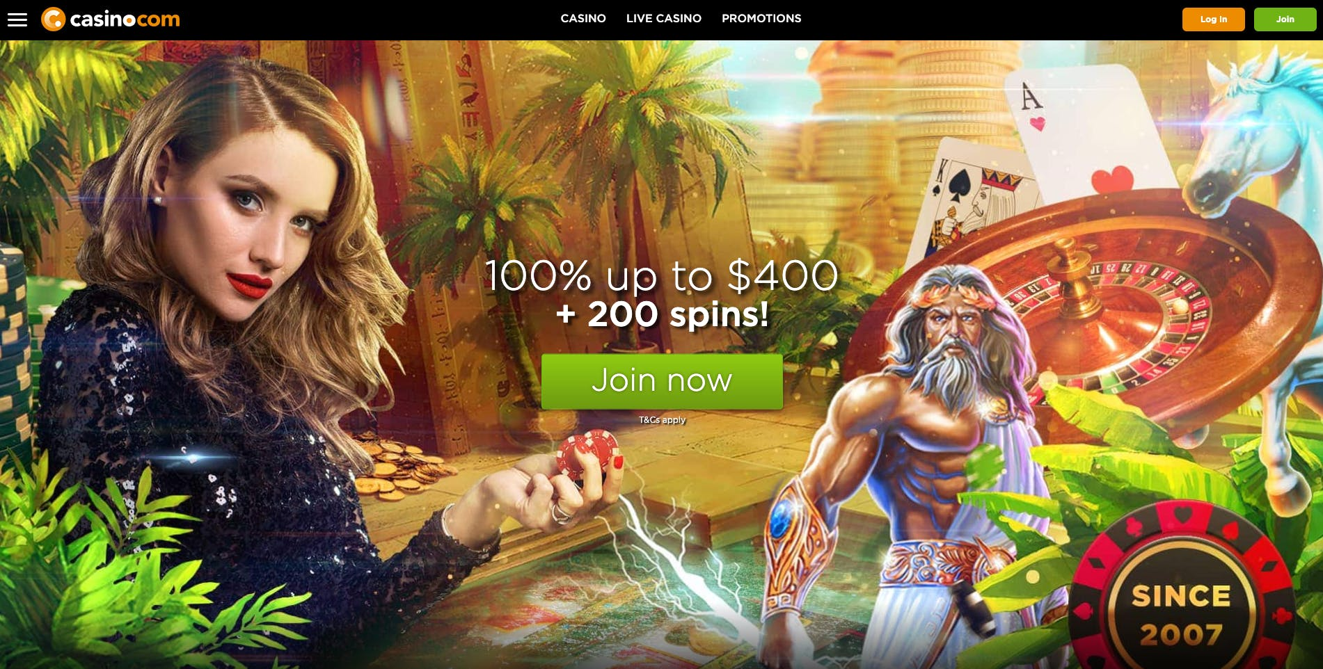 casino.com landing page