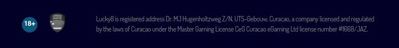 gaming licence in the footer of the onlince casino