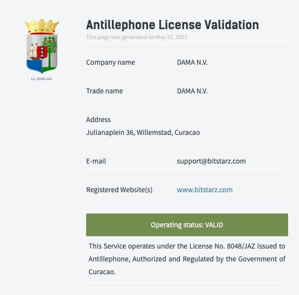 bitstarz license