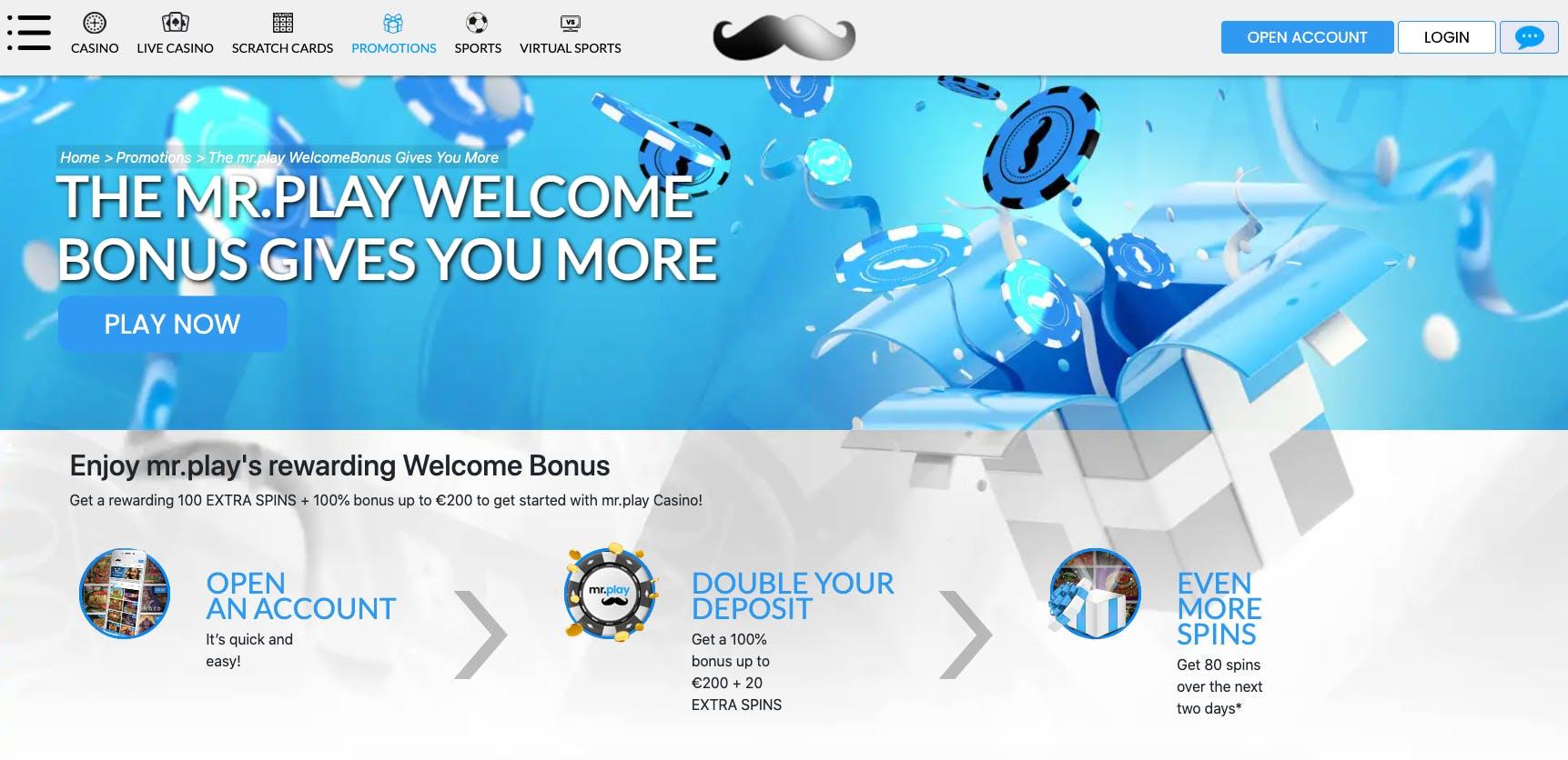 welcome bonus mrplay