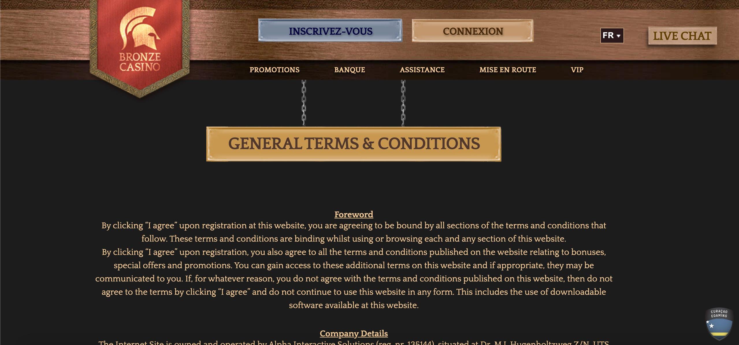 changing langage bronze casino
