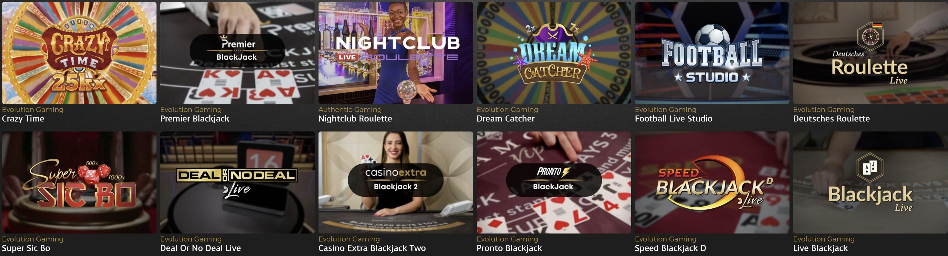 Casino Extra live games