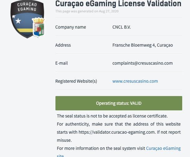 licence cresus casino