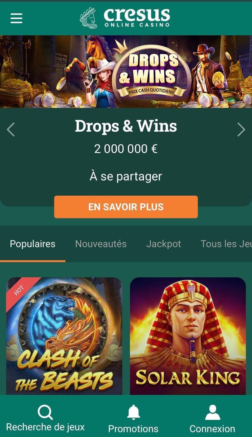 cresus casino sur mobile