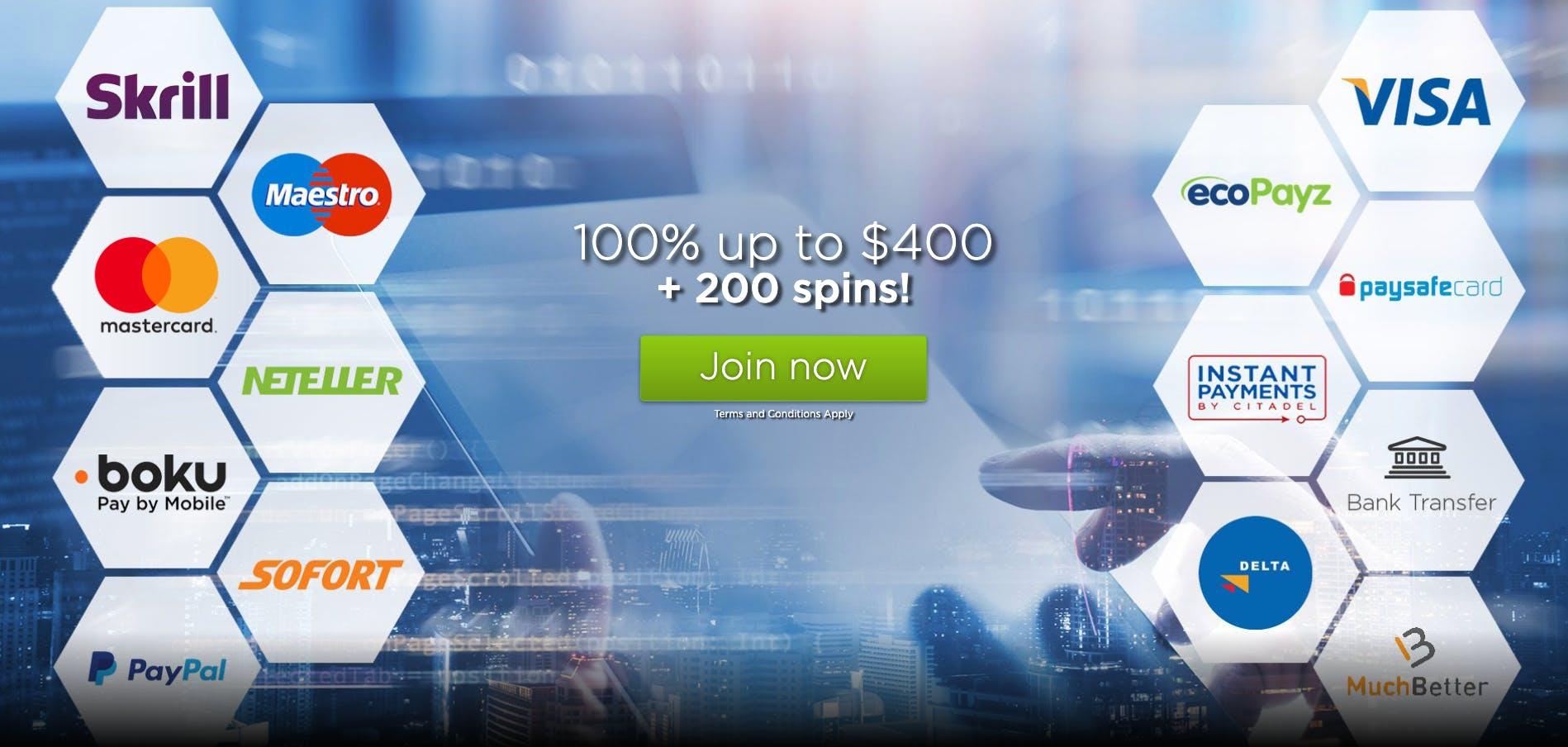 payment methos casino.com